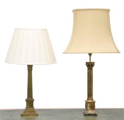 Lot 157 - Two brass Corinthian column table lamps