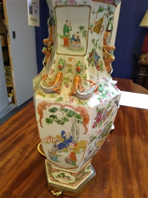 Lot 51 - A Chinese famille verte vase table lamp