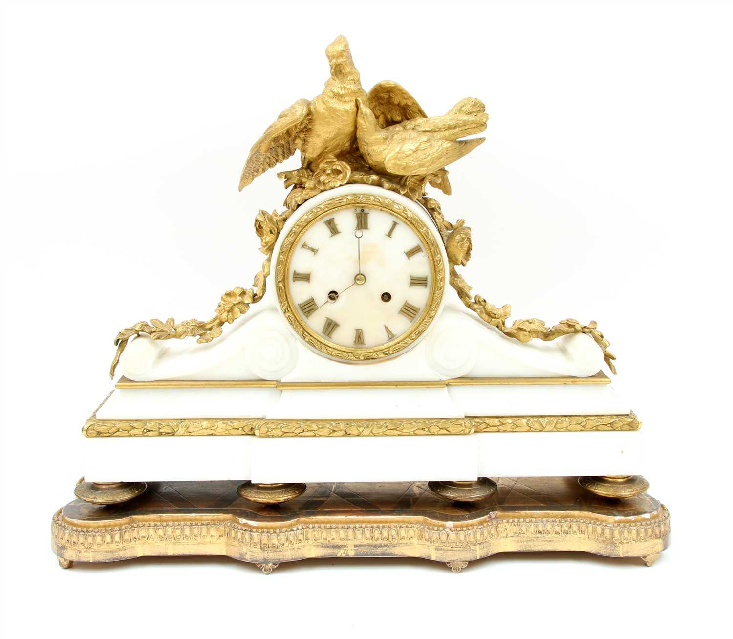 Lot 32 - A French alabaster and ormolu mantel clock