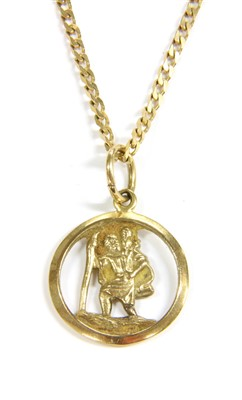 Lot 8-A modern 9ct gold St Christopher pendant