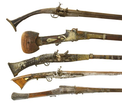 Lot 553 - Five South Indian or Sri Lankan flintlock long guns