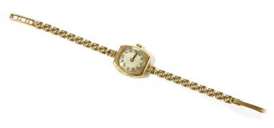 Lot 1-A ladies 9ct gold bracelet watch