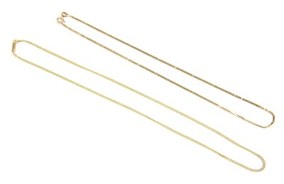 Lot 5-A 9ct gold flat square link necklace