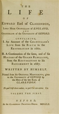 Lot 89 - Clarendon, Earl of: 1- History of the Rebellion and civil wars in England