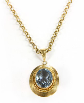 Lot 22-A 9ct gold and single stone synthetic spinel pendant on chain