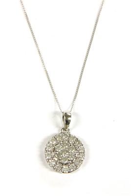 Lot 14A-A white gold diamond cluster pendant
