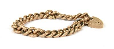 Lot 16-A 9ct rose gold curb link bracelet