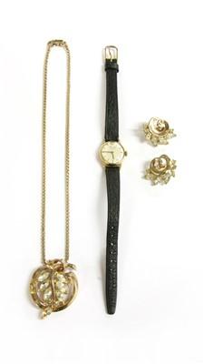 Lot 11-A Trifari costume jewellery pendant and earring set
