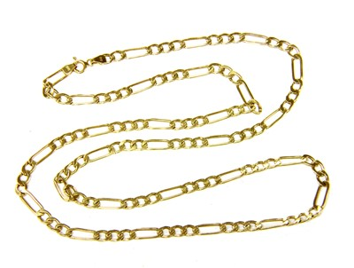 Lot 8-A 9ct gold hollow Figaro chain