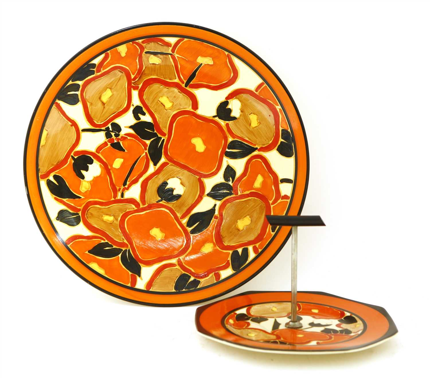 158 - A Clarice Cliff 'Orange Chintz' wall charger,