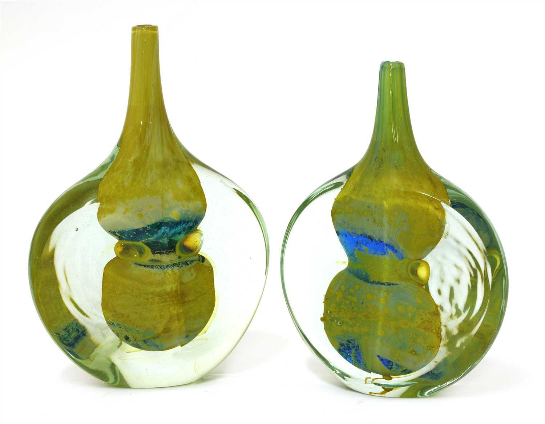 Lot 559 - Two Mdina lollipop glass vases