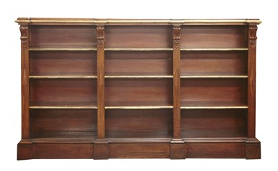 Lot 26-A Victorian oak and parcel-gilt three section open bookcase