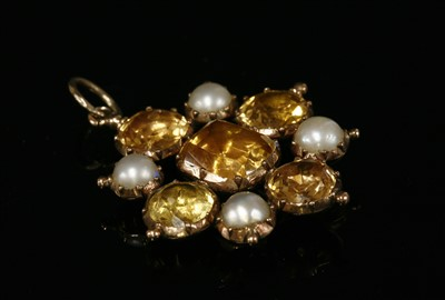 Lot 7-A Georgian gold topaz, split pearl and paste pendant