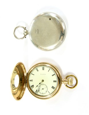 Lot 13-A silver cased barometer altimeter and gold plated half hunter
