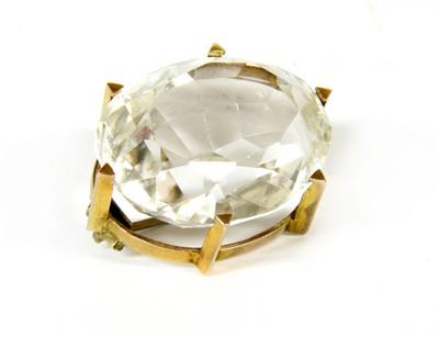 Lot 18-A Victorian single stone oval Brazilian cut rock crystal brooch