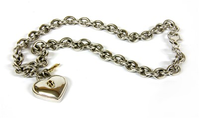 Lot 4-A sterling silver and gold Tiffany & Co necklace