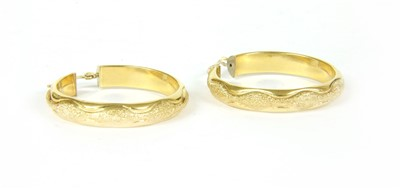 Lot 23-A pair of gold hooped earrings