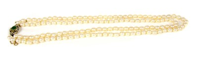 Lot 28B-A two row uniform cultured pearl necklace