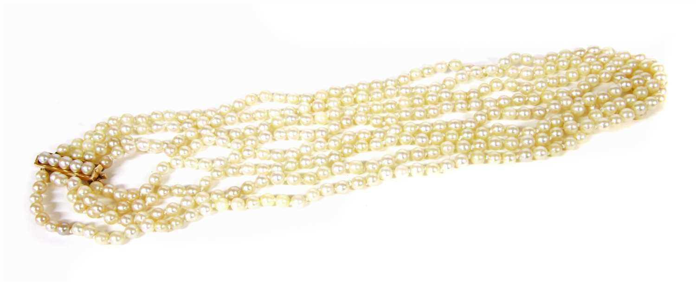 Lot 1003-A four row uniform cultured pearl necklace