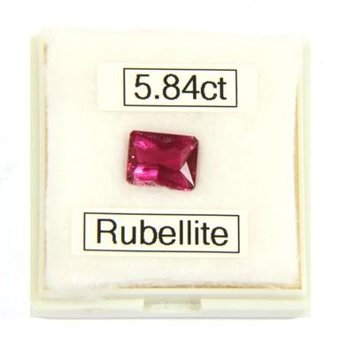 Lot 3-An unmounted octagonal scissor cut rubelite
