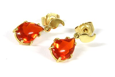 Lot 19-A pair of 18ct gold single stone fire opal drop earrings
