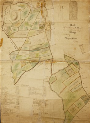 Lot 41-IRISH INTEREST: Original Hand drawn and coloured MAP of the Estate of Miss. E. Flood