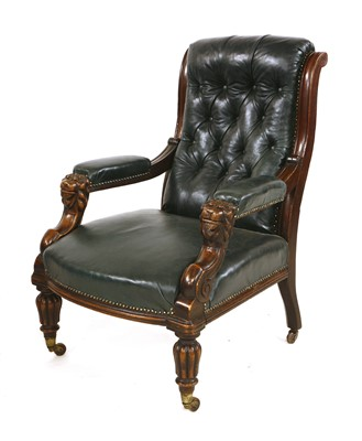 Lot 31-A William IV mahogany and green buttoned leather library chair