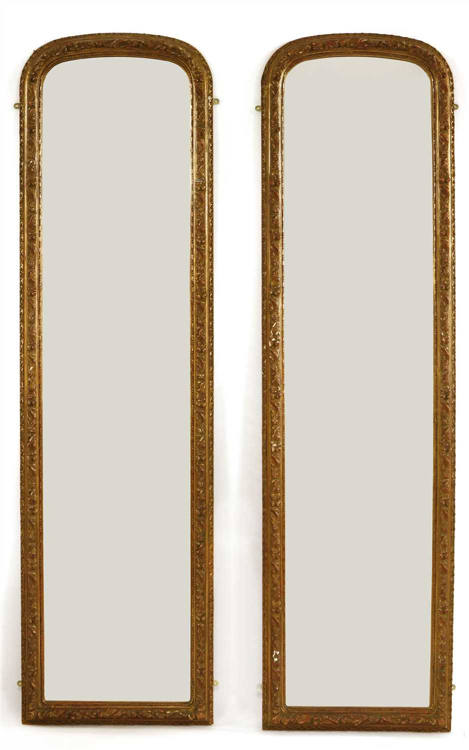 Lot 8-A pair of tall George III-style pier mirrors