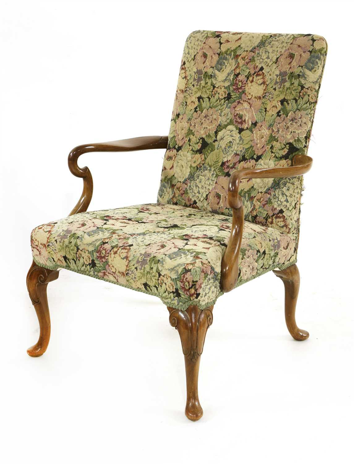 Lot 3-A George II-style mahogany elbow chair