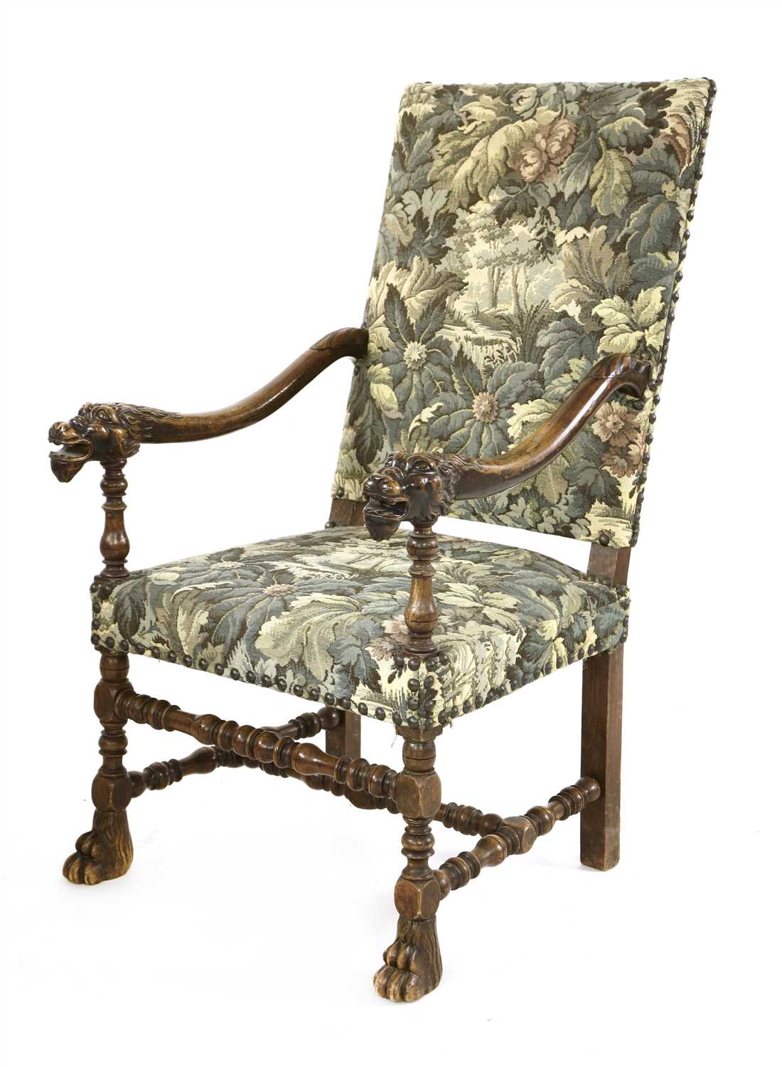 A Continental beechwood elbow chair,