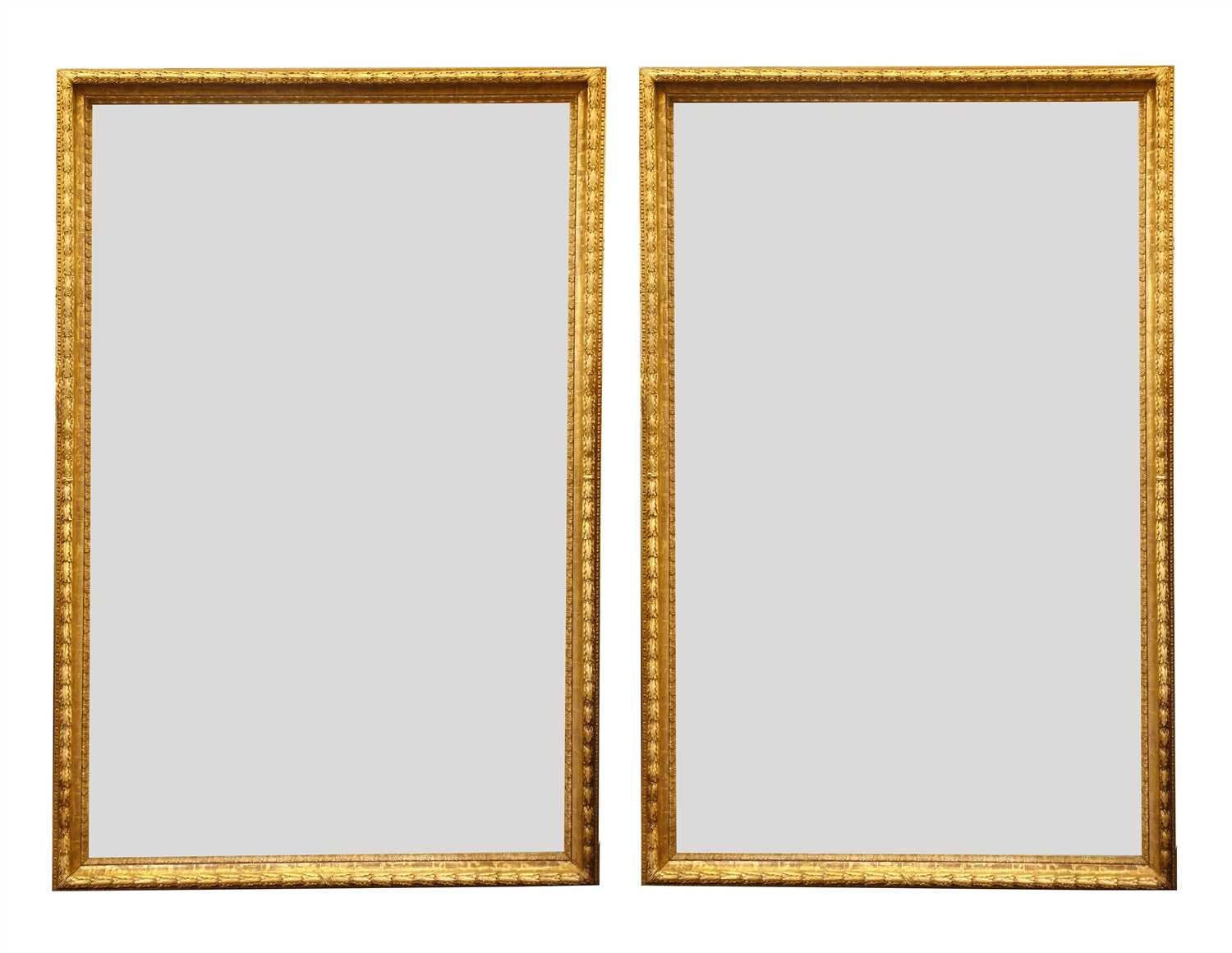 Lot 13-A large pair of carved and gilded picture frames