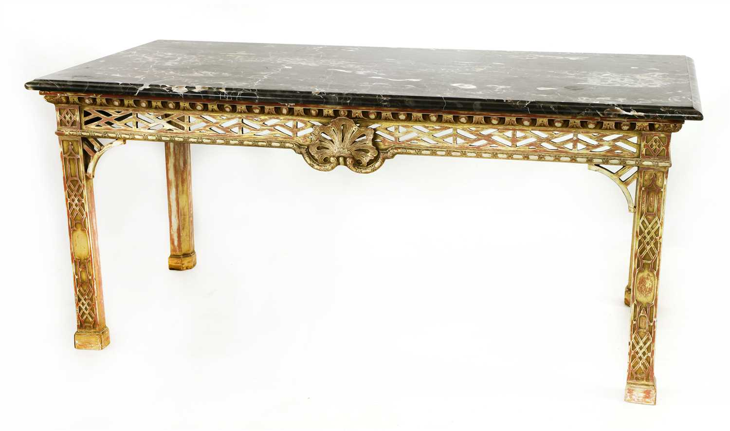 Lot 9-A Chippendale-style giltwood console table