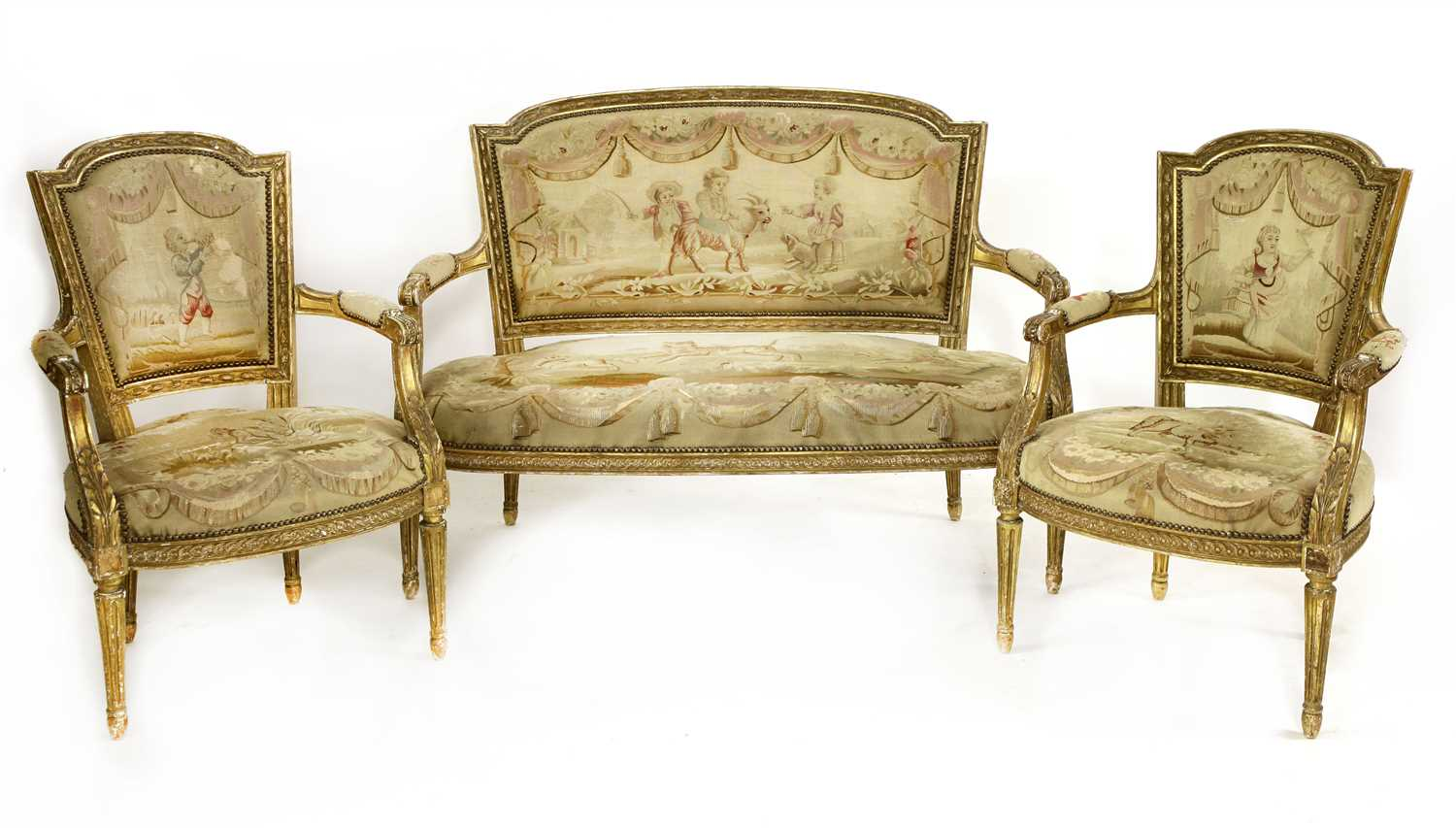 Lot 5-A Louis XVI-style part salon suite