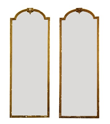 Lot 4-A pair of gilt gesso pier mirrors