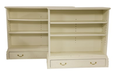Lot 12-Two modern white painted open bookcases