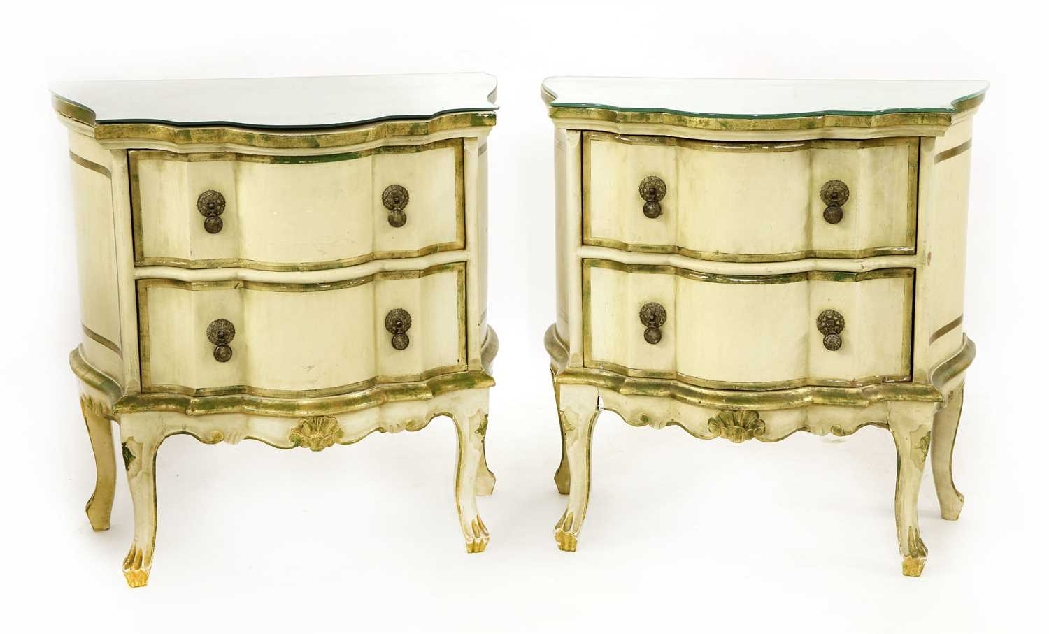 A pair of modern painted bedside chests,