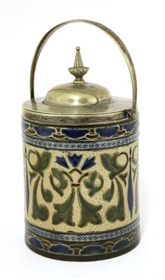 Lot 13-A stoneware biscuit barrel