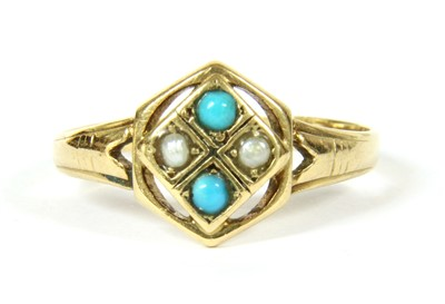 Lot 2-A gold turquoise and split pearl quadrafoil cluster ring
