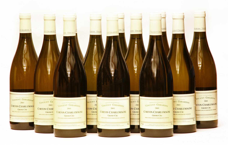 Lot 8-Vincent Girardin, Corton Charlemagne, Grand Cru, 2001, twelve bottles (boxed)