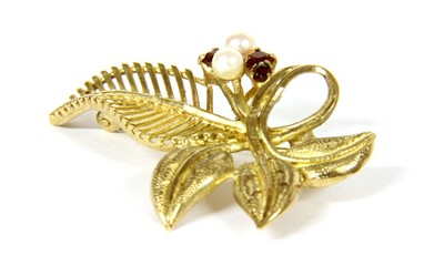 Lot 16-A 9ct gold cultured pearl and garnet leaf brooch