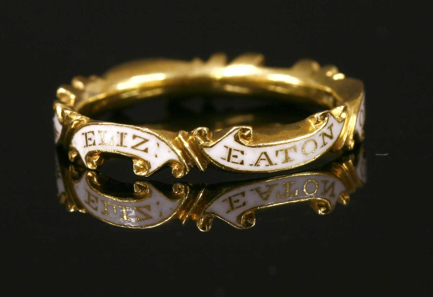 Lot 4-A Georgian white enamel memorial ring