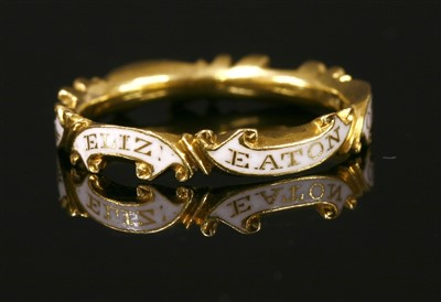Lot 4-A Georgian white enamel memorial ring