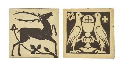 Lot 7-Two pottery encaustic tiles