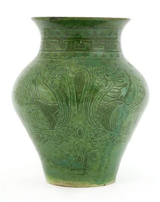 Lot 6-A green-glazed pottery vase