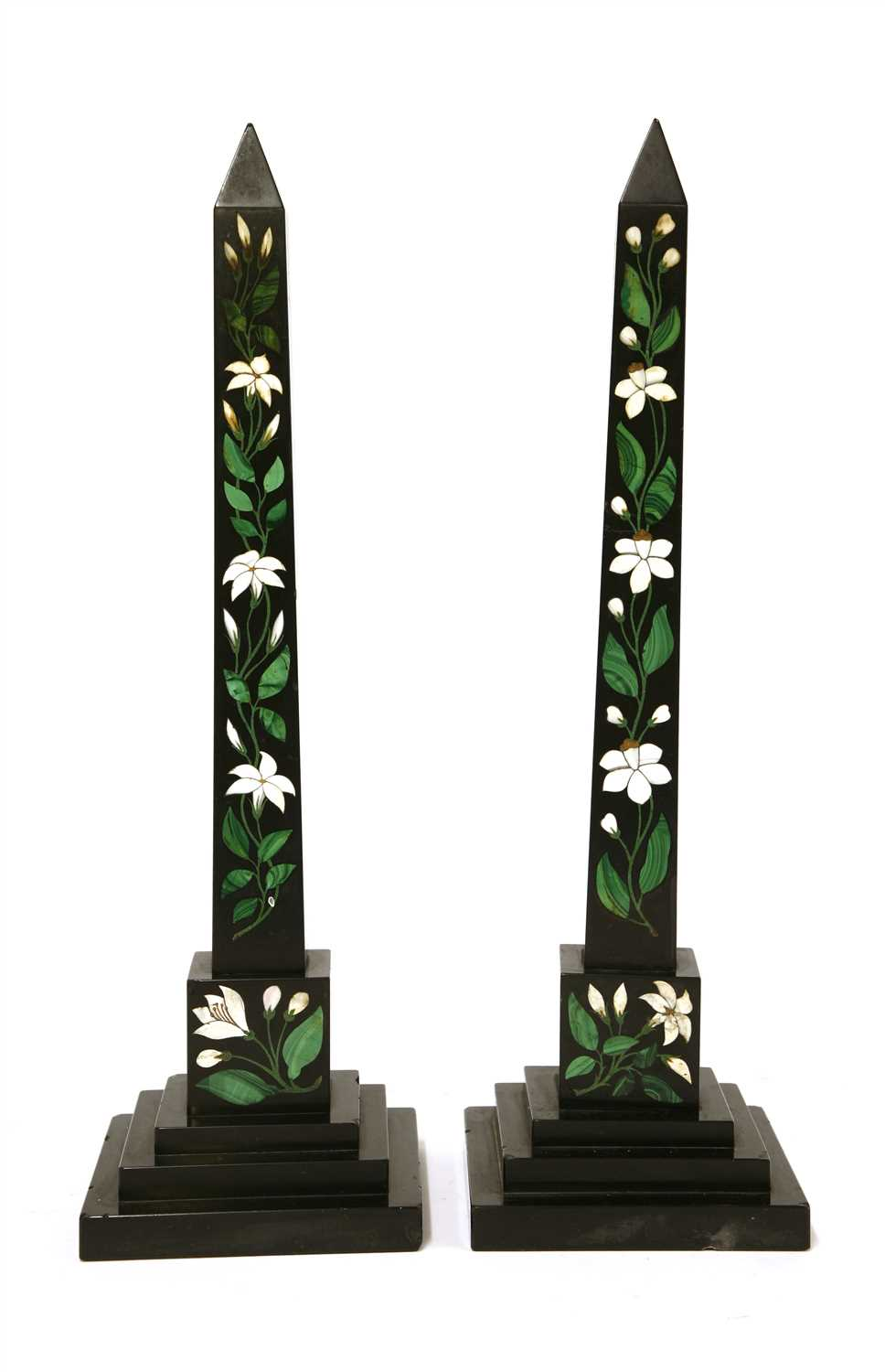 Lot 20-A pair of slate, malachite and hardstone inlaid obelisks