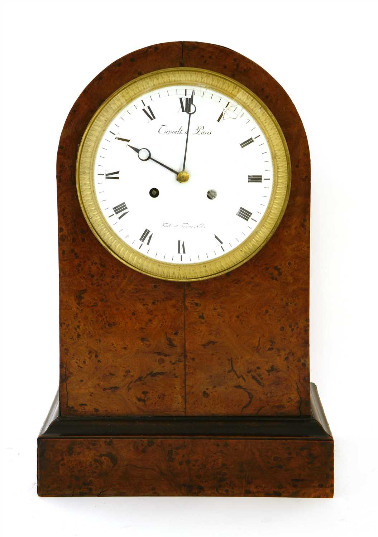 Lot 24-A French amboyna mantel clock