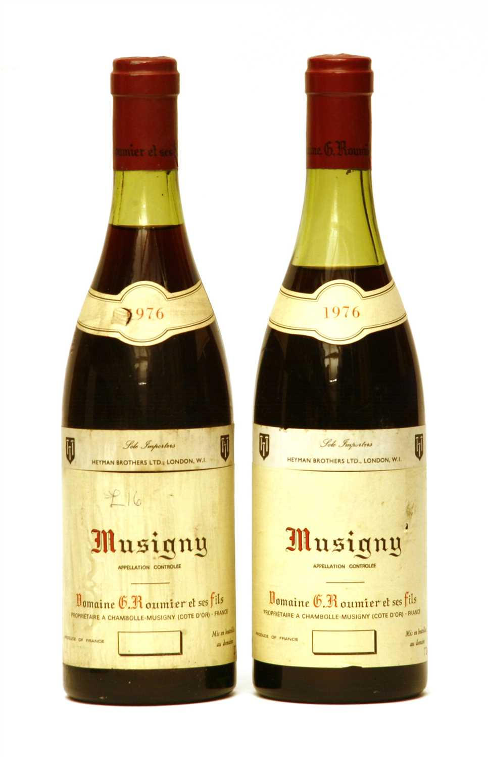 Lot 238 - Domaine G. Roumier, Musigny, 1976, two bottles