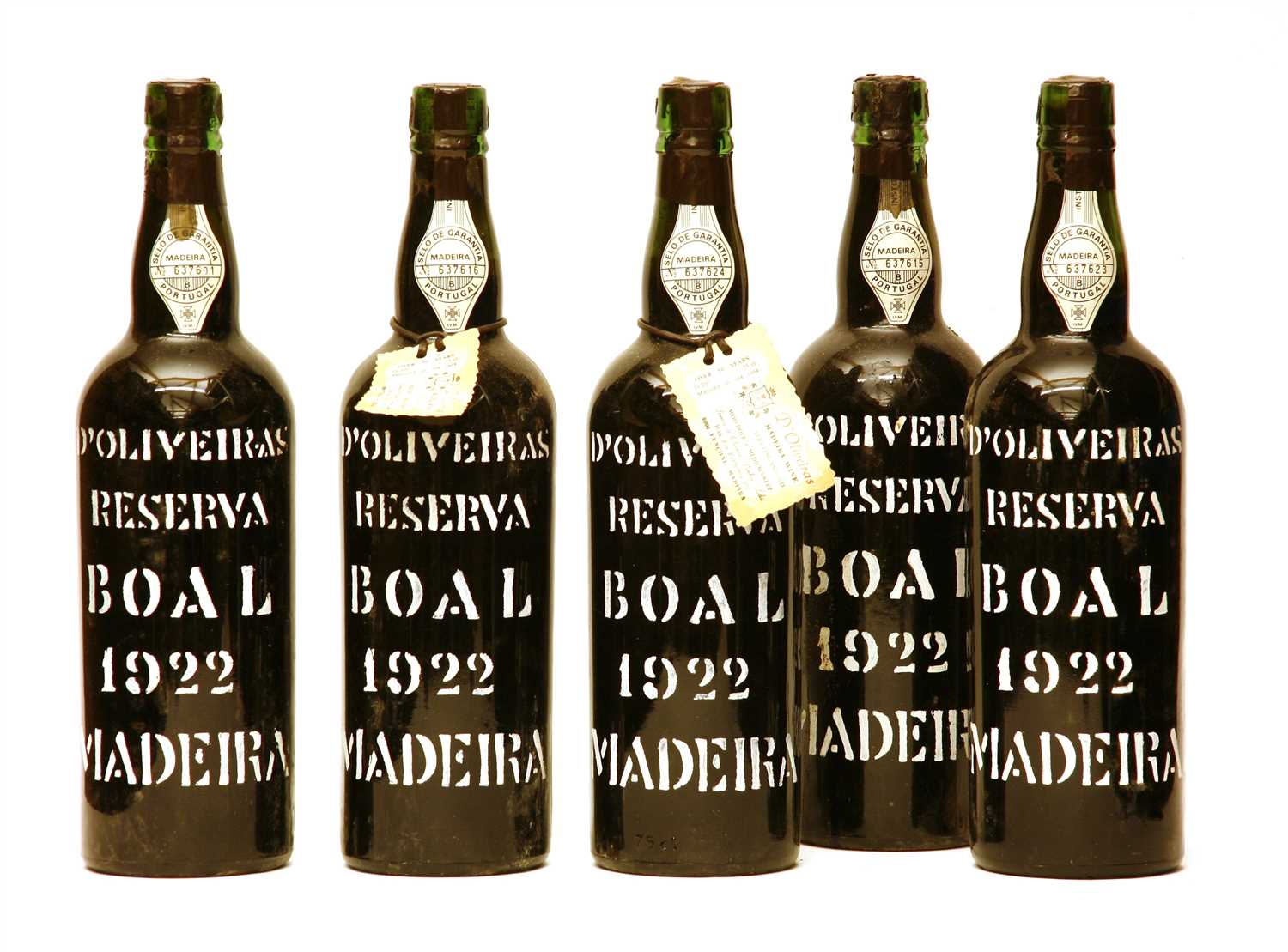 Lot 53-D'Oliveras Reserva, Boal, Madeira, 1922, five bottles