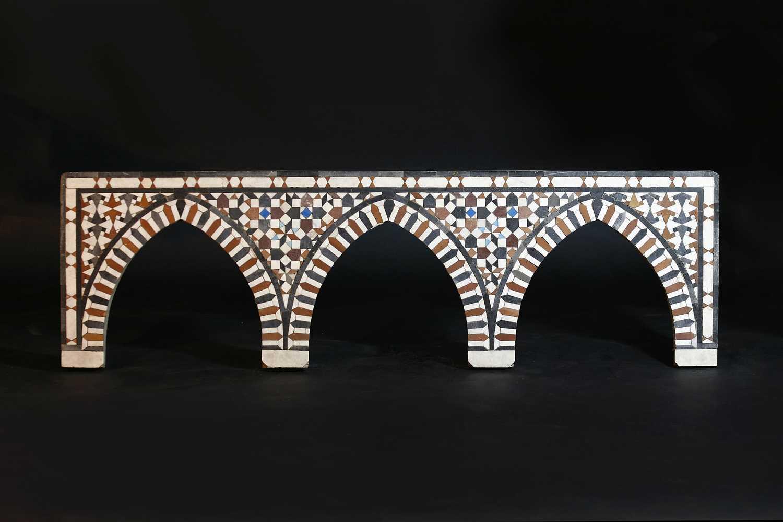 Lot 465 - A Mamluk (15th-17th century CE) mosaic triple arched panel