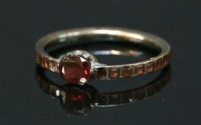 Lot 25-A Georgian gold flat cut garnet ring